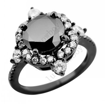 Sz5/6/7/8/9/10 Vintage Style Women Fashion Band Black/White Zircon 14KT Black Gold Filled Wedding Engagement Cute Rings RB0156 Alternative Measures