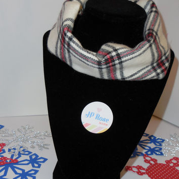 Toddler Lumberjack Scarf, Drool Bib, Red and Black Plaid, Kids Infinity Scarf, Size 12 months to size 24 months,
