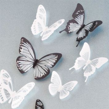 Crystal 18Pcs 3D Butterflies DIY home decor wall stickers for kids room Christmas party decoration kitchen refrigerator decal ^