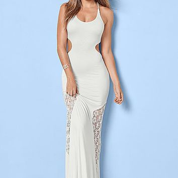 White Lace Detail Maxi Dress from VENUS