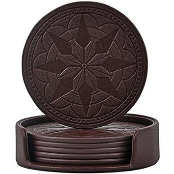 365park OastersPU Leather Coasters for Drinks Set of 6 with HolderProtect Your Furniture from Stains Coffee