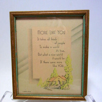 Buzza Lithograph Original Framed A Buzza Vintage  Collectible Buzza Motto