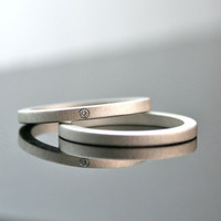 One Tiny Diamond Ring Set - Sterling Silver - Simple Engagement Rings- Wedding Bands - Matte Finish - 2 mm