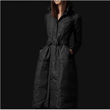 High Quality European Fashion Designer 2016 Parkas For Women Winter White Duck Down Parka Long Jacket Coat with Bowknot Belt