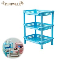 DINIWELL 1PCS Square Shaped Plastic Bathroom Storage Shelves Holders Three Layer Organization Floor Type