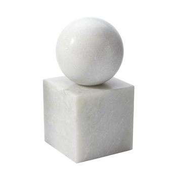 Lazy Susan White Marble Minimalist Bookend - 786021
