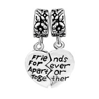 Pugster Heart Best Friends Forever Spacer Fit All Brands Dangle European Beads Plus FREE Snake Chain Bracelet - DPC_AM29 & BR_EH01