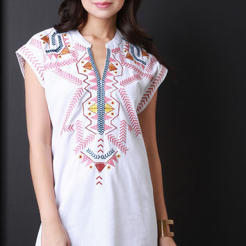 Tribal Embroidery Shift Dress