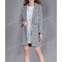 Wholesale Slimming Long Sleeve Color Block Turn Down Collar Houndstooth Print One Button Coat For Women (BLACK OR WHITE,XL), Jackets & Coats - Rosewholesale.com