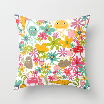 There are fuzzy monsters in your vegetable garden Throw Pillow by Krusidull Illustrations