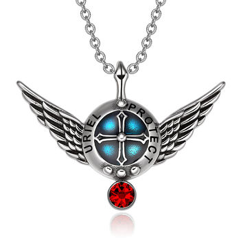 Archangel Uriel Angel Wings Protection Shield Magic Powers Charm Red Crystal Pendant 18 inch Necklace