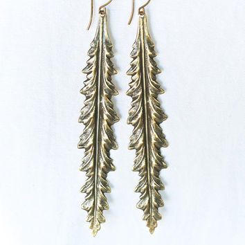 Long Leafy Earrings Oxidized Brass - Happiness, Growth, Circle of Life, Determination, Growth, Change, Rebirth, Renewal