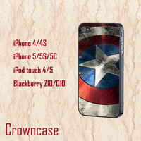 ipod 5 case,ipod 4 case,iphone 5s case,iphone 5c case,iphone 5 case,iphone 4 case,z10 case,blackberry q10 case--Captain America Shield.