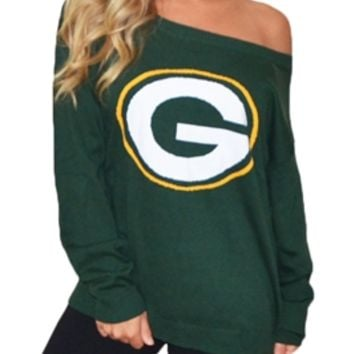 Green Bay Packers Off Shoulder Sweater | SportyThreads.com