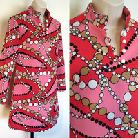 Vintage 60s MOD Psychedelic Pink Atomic Bubbles Abstract Tunic Mini Dress