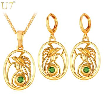 U7 The Birds-of-Paradise Jewelry Earrings And Necklace Sets For Women Indonesia Papua New Guinea Jewelry Gold Color Trendy S859