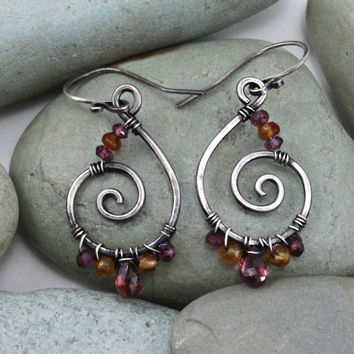 Handmade earrings sterling silver and natural by MoonGlowJewelry