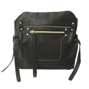 Black Leather Stud Zipper Backpack
