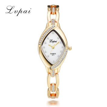 Lvpai High Quality Bangle Watch Thin Oval Rhombus Gold Rhinestone Watch Women Crystal Clock Ladies Wrist Watches Dress Quartz