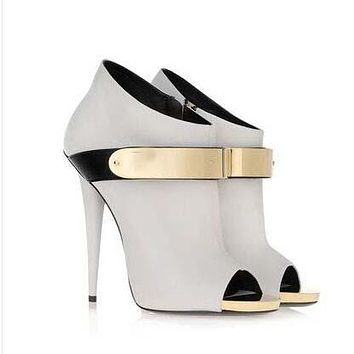 Metal Decorate Peep Toe Ankle Boot Stiletto High Heel Sandals