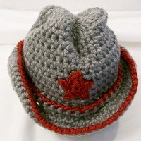 Baby Boy Cowboy Hat, Grey and REd, Baby Boy Gift, Baby Shower Gift, Made in the USA, #233
