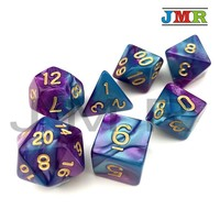 Purple with Blue 2 Color Effect Portable Dice Playing Game for Dungeons and Dragons Double Color Effect Rpg Game Dice Playing