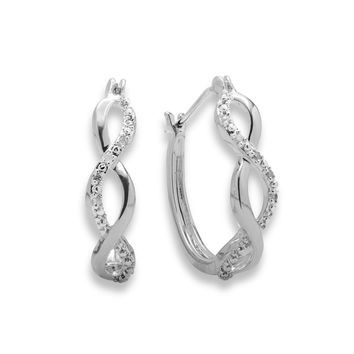 Genuine Diamond Accent Infinity Hoop Earrings