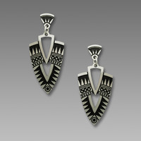 Adajio Earrings - Etched Nickel Deco Shield Posts