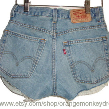 Under 30 dollars CHEEKY vintage cut off jean blue denim LEVI high waisted summer shorts made to order all sizes