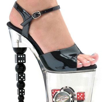Women's 75 Inch Dice Heel Sandal (12,Black)