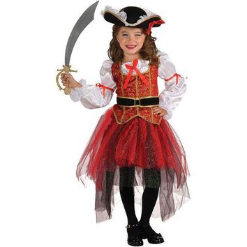DCCKH6B Halloween Christmas pirate costumes cosplay anime girls party cosplay costume for children kids clothes