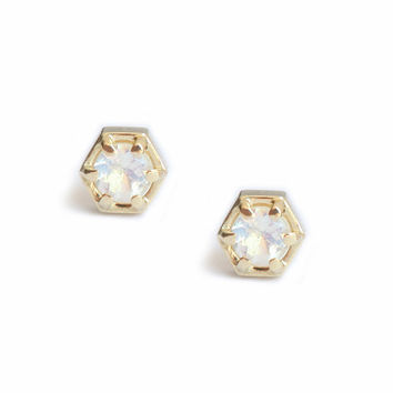 Moonstone Stud Earrings, Moonstone Earrings, gold Moonstone Studs, Simple Gold Stud Earrings, Dainty Gold Studs