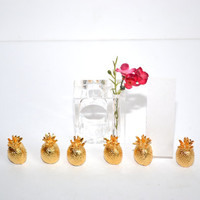 Pineapple Place Card Holders Gold Gilded Pineapple Table Number Holders Pineapples Brass Pineapple Wedding Table Numbers