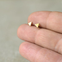 Triangle studs, minimalist gold posts, tiny triangle, stacking earrings, tiny earrings, hand made, gift, bridesmaid gift, geometric jewelry
