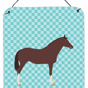 English Thoroughbred Horse Blue Check Wall or Door Hanging Prints BB8087DS1216