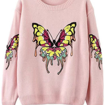 Pink Butterfly Embroidered Long Sleeve Knitted Sweater