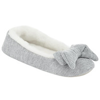 Buy John Lewis Knitted Faux Fur Ballerina Slippers | John Lewis