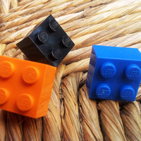 3D Lego Studs - choice colors variety unisex unique OOAK repurposed post earrings men women toy FREE shipping USA