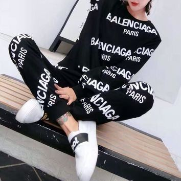 balenciaga women casual logo letter print long sleeve trousers set two piece sportswear 2