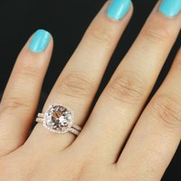 Samina Queen Size 14kt Rose Gold Morganite and Diamonds Cushion Halo Wedding Set (Other metals and stone options available)