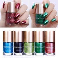 9ml NICOLE DIARY Metallic Nail Varnish Polish Red Blue Green Black Mirror Effect Metal Nail Polish Color for Nail Art