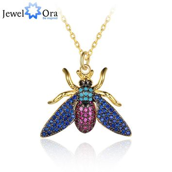Unique Lovely Bee Necklace Honey Bee Pendant Necklace Women Fashion Animal Insect Jewelry Accessories (jewelora NE102789)