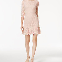 Calvin Klein Lace Pleated Sheath Dress | macys.com