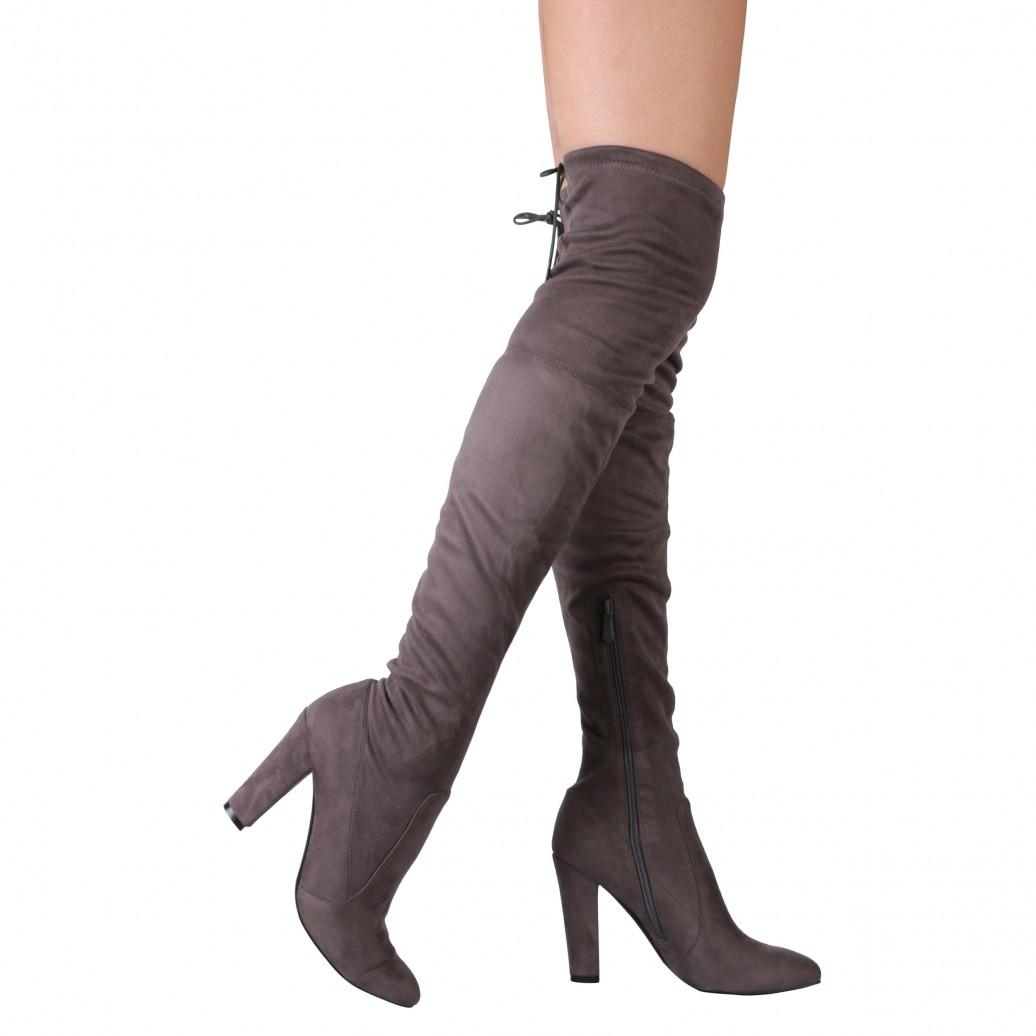 2158a132e80 Janine Over the Knee Boots in Grey Faux from publicdesire.co.uk