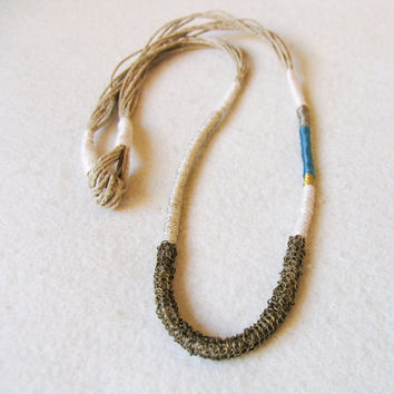 Boho Necklace, Long Rope Necklace, Yarn Necklace, Fiber Necklace, Bohemian Jewelry, Boho Chic Necklace, Gift under 30, Fiber art necklace