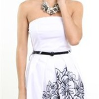 White Cocktail Strapless Dress-Sophisticated Cocktail Dresses