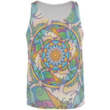DCCKJY1 Mandala Trippy Stained Glass Hedgehog All Over Mens Tank Top