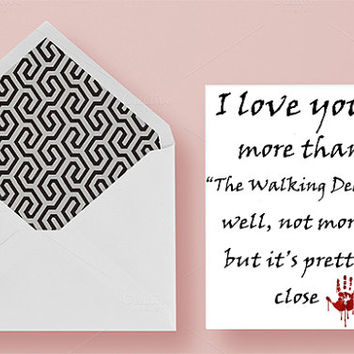 Funny Valentine's Day card, Walking Dead Valentine's Day Card, Anniversary card, Funny Anniversary card, Printable Walking Dead Card