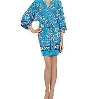 In Bloom by Jonquil Turkish Scroll Short Wrap Robe - Turquoise