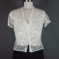 30s White Ivory  Lace Blouse Vintage Tambour Tape Bridal Feminine Sheer Netting XS